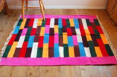 バングラデシュ手織りエスニックラグ  「橋」ピンク系 150×120