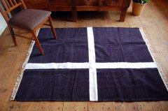 北欧デザイン ラグ『 クロス 』ネイビー150×120