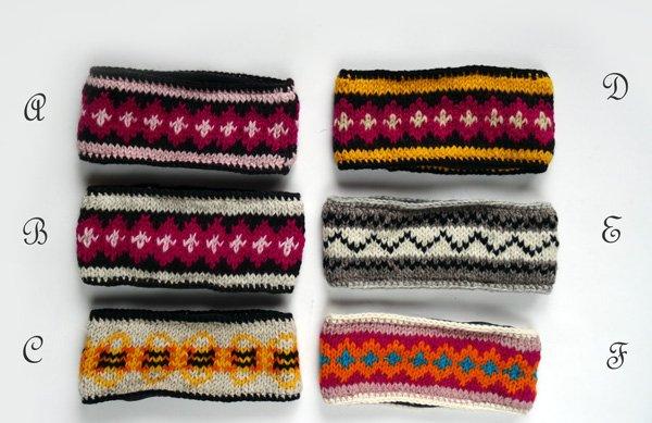 手編みニットヘアバンド(イヤーウォーマー) ノルデック柄 ミックス