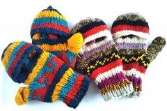 ウール手編み手袋 グローブ 2WAY  ミックス系 B