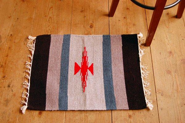 プレイスマット 手織りエスニックラグ【太陽】  60×45