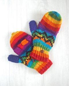 ウール手編み手袋 グローブ レインボー