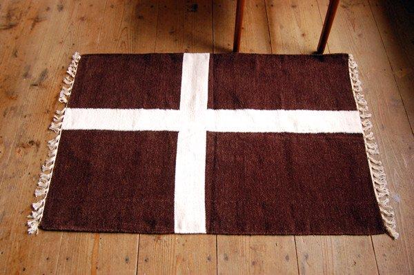 北欧デザイン ラグ『 クロス 』ブラウン 100×70