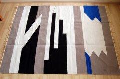 バングラデシュ伝統手織りエスニックラグ『 雷神 』 カラーあり 150×120
