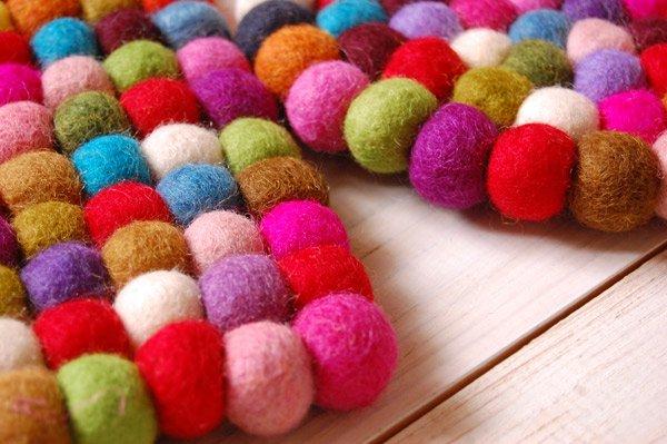 羊毛フェルト ポットマットと木のスプーンセット