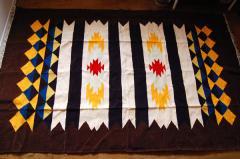 【ホットカーペット対応】手織りエスニックラグ太陽と波225×175 ブラウン系