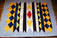 【ホットカーペット対応】手織りエスニックラグ太陽と波150×120グレー