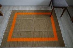 北欧デザイン ラグ『 コート 』 モカ×オレンジ 150×120