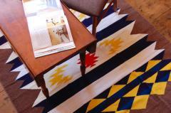 【ホットカーペット対応】手織りエスニックラグ太陽と波200×140 モカ