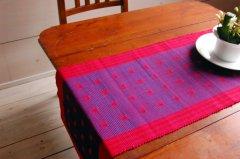 手織りコットンテーブルランナー&ランチョンマット 【キューブ】