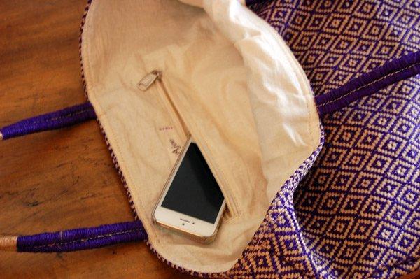 【Lサイズセール】ジュートバッグ マルシェデザイン (ダイヤ パープル) サイズあり