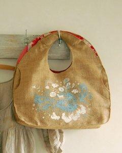 【セール】ジュート麻デザイナーズトートバッグ(アッシュブルー)オレンジ・ピンク・レッド系