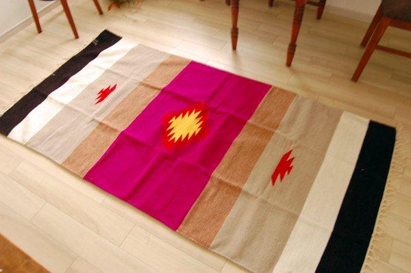 手織りエスニックラグ舟と太陽  170×90