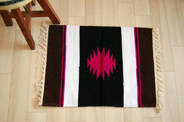 プレイスマット 手織りエスニックラグ【太陽】  65×45