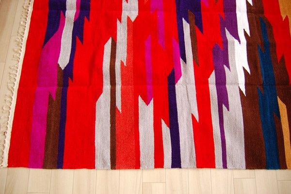 手織りラグエスニックデザイン『 雷神 』ミックス160×120