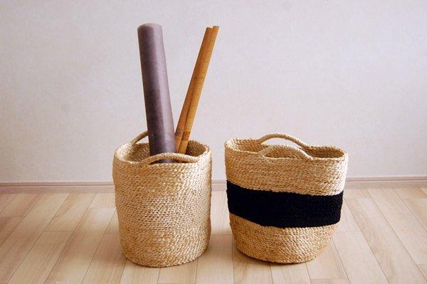 ナチュラルジュート手編みバスケット tube-shaped バイカラー