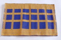 手織りコットンテーブルランナー&ランチョンマット 【キューブ】からし色×ブルー