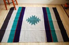 手織りエスニックラグ 太陽(グレー系) 150×120