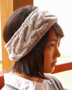 手編みニットヘアバンド(イヤーウォーマー)  フラワーモチーフ (2色あり)