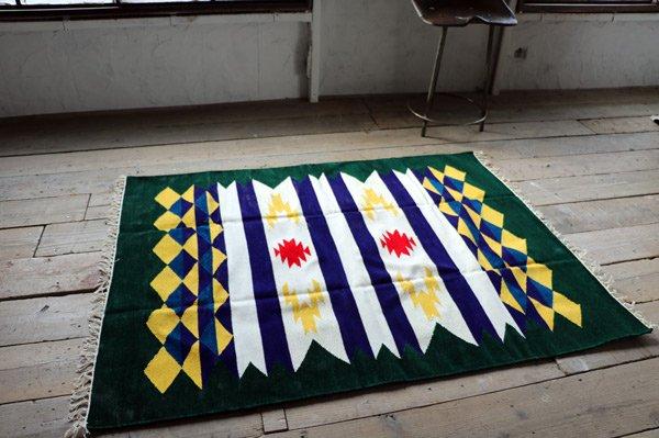 【ホットカーペット対応】手織りエスニックラグ太陽と波150×120 グリーン