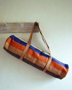 ヨガバッグ(ヨガマットケース)  手織ジュート麻生地 ボーダー オレンジ系 2handle