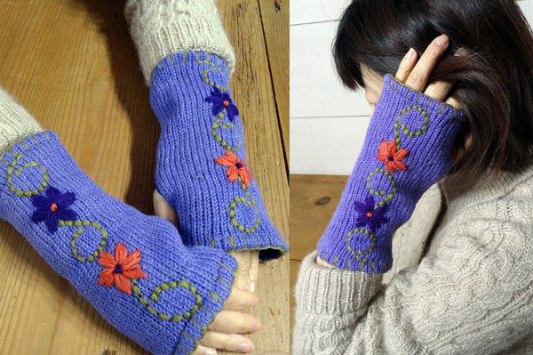 手編みハンドウォーマー フラワーモチーフ パープル系