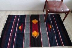 手織りエスニックラグ159×90【太陽デザイン】 ボーダー