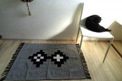 デザイン手織りラグ【 Wink 】ライトグレー aiMIKI Design 100×70