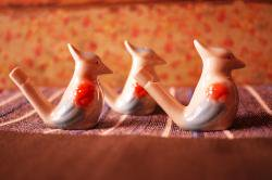 ヴィンテージスタイル 陶器製の鳥笛 (新品)