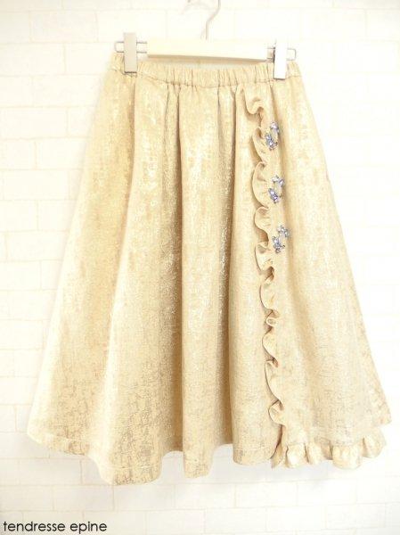 ビジュー付き箔ジャガードスカート