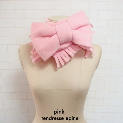 フリースビッグリボンマフラー(ピンク)