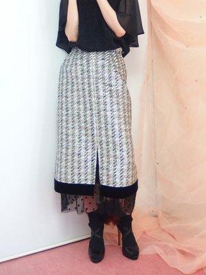 チュールレイヤードタイトスカート(ラメツイード)