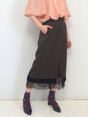 チュールレイヤードタイトスカート(チャコールブラウン)
