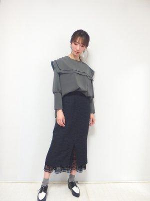 チュールレイヤードタイトスカート(ネイビーラメツイード)