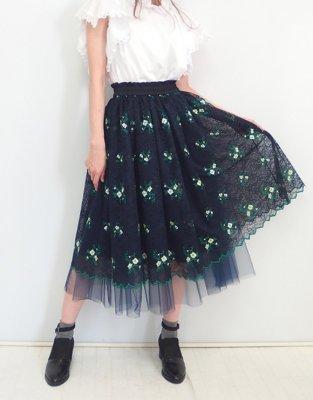 フラワー刺繍レースのチュールスカート