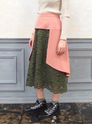レースドッキングフィッシュテールスカート(ピンク×カーキ)