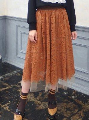 チュールレーススカート(オレンジブラウン)