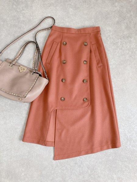 トレンチ風アシメスリットスカート(レンガ)