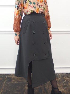 トレンチ風アシメスリットスカート(グレー)