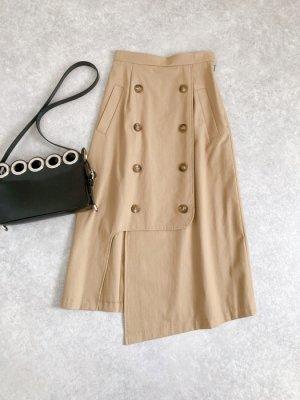 トレンチ風アシメスリットスカート(ベージュ)
