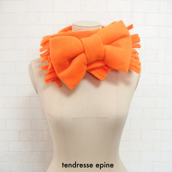 フリースビッグリボンマフラー(オレンジ)