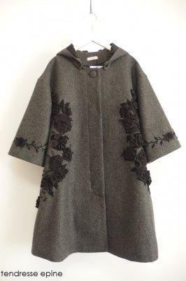 【受注生産 納期1か月〜2か月】フーテッド華やかフラワー刺繍テントコート