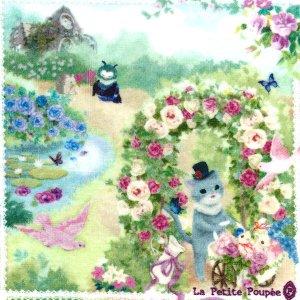 タオルハンカチ 「シャルルと薔薇のアーチ」