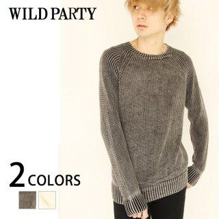 【WILD PARTY】サンドウォッシュ畦編みニット/全2色・インディゴ/ワイルドパーティー