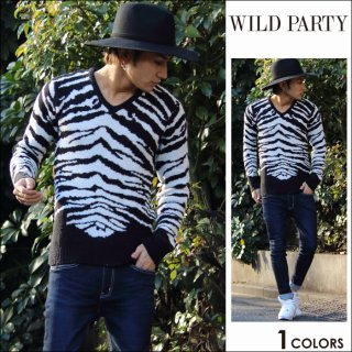 <img class='new_mark_img1' src='https://img.shop-pro.jp/img/new/icons20.gif' style='border:none;display:inline;margin:0px;padding:0px;width:auto;' />★50%OFF★WILD PARTY(ワイルドパーティー)ゼブラVネックニット全1色