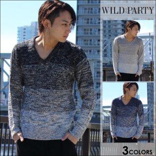 WILD PARTY(ワイルドパーティー)グラデーションVニット18S全3色