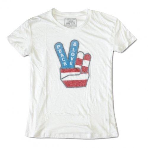 """LOVE and PEACE """"星条旗 オフホワイト"""" レディース Tシャツ"""