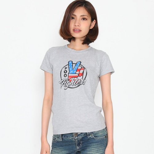 FooFighters フー・ファイターズ ピースサイン 星条旗 レディース ロックTシャツ