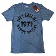 Muddy Waters マディ・ウォーターズ THEY CALL ME 1971 ブルー Tシャツ