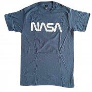 NASA シンプル レトロ ロゴ スレートブルー Tシャツ